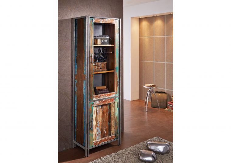 Vitrine NEW YORK Altholz 60x36x186 cm Loftdesign