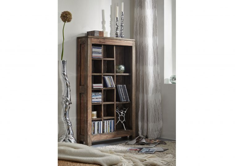 Mobile porta CD-DVD in legno sheesham - oliato 65x18x110 NATURE GREY #58