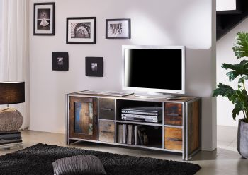 Mobile TV in legno riciclato / metal - laccato 150x50x60 NEW YORK #03