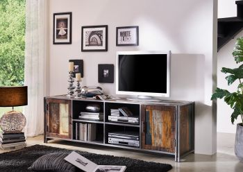 Mobile TV in legno riciclato / metal - laccato 200x50x60 NEW YORK #04