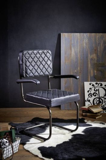 Sedia in pelle nera 68x58x90 IRON LABEL #107