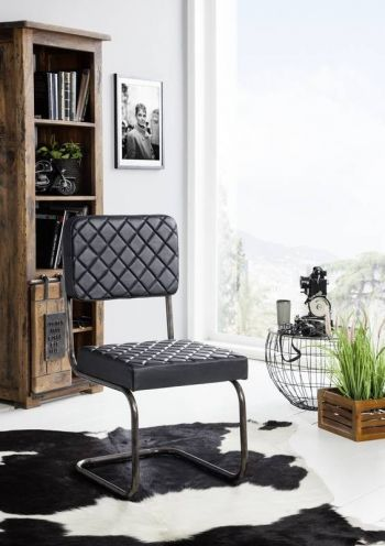 Sedia in pelle nera 68x58x90 IRON LABEL #108