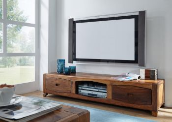 Mobile TV in legno sheesham - laccato / marrone 160x43x33 ANCONA #107