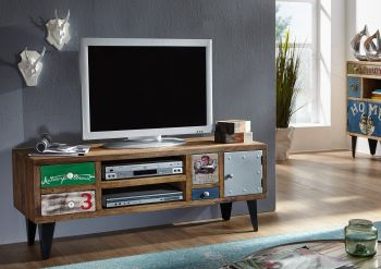 Mobile TV in legno sheesham / ferro - stampato 133x40x53 LIVERPOOL #26