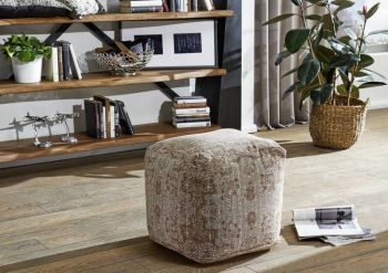 Pouf in stile vintage - beige 45x45x45 GRANTS