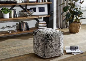 Pouf in stile vintage - grigio 45x45x45 LINCOLN TWO