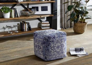 Pouf in stile vintage - blu 45x45x45 LINCOLN TWO