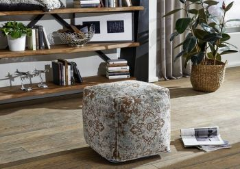 Pouf in stile vintage - turchese 45x45x45 LINCOLN TWO