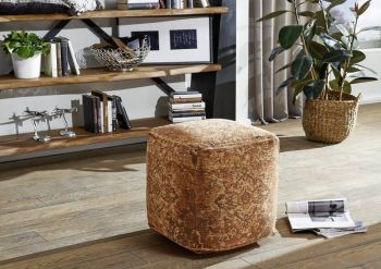 Pouf in stile vintage - arancione 45x45x45 LINCOLN TWO