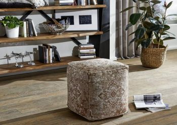 Pouf in stile vintage - beige 45x45x45 LINCOLN TWO