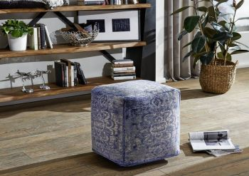 Pouf in stile vintage - blu 45x45x45 NEW BOSTON
