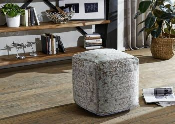 Pouf in stile vintage - turchese 45x45x45 NEW BOSTON