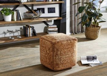 Pouf in stile vintage - arancione 45x45x45 NEW BOSTON