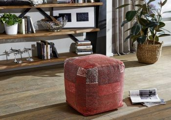 Pouf in stile vintage - rosso 45x45x45 NEW TILE