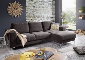 Sofa Wohnlandschaft LONDON Antik Optik dunkelgrau
