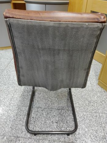 Sedia in pelle marrone scuro 46x60x93 IRON LABEL #101